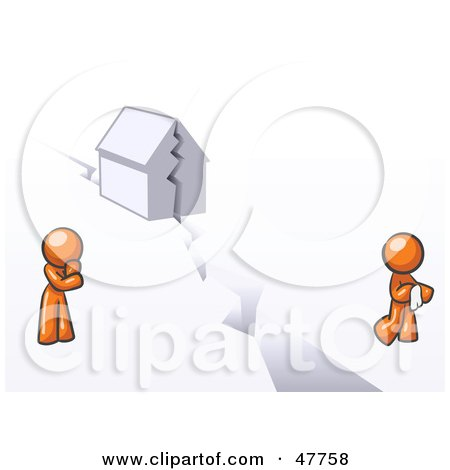 Royalty-Free (RF) Clipart Illustration of an Orange Design Mascot Man And Woman With A House Divided by Leo Blanchette