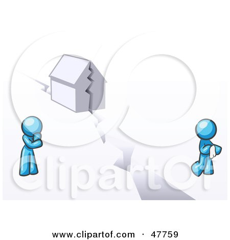 Royalty-Free (RF) Clipart Illustration of a Blue Design Mascot Man And Woman With A House Divided by Leo Blanchette