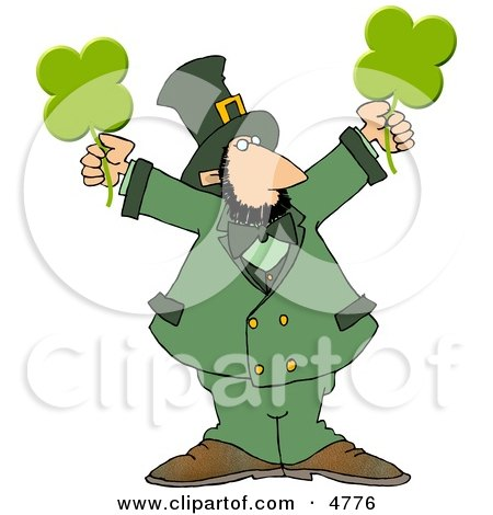 Clipart Modern Stereotypical Depiction Of A Leprechaun Holding Four Leaf Clovers