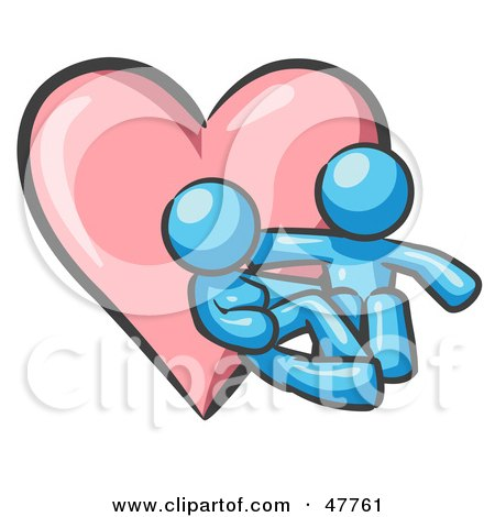 Royalty-Free (RF) Clipart Illustration of a Blue Design Mascot Couple Embracing In Front Of A Heart by Leo Blanchette
