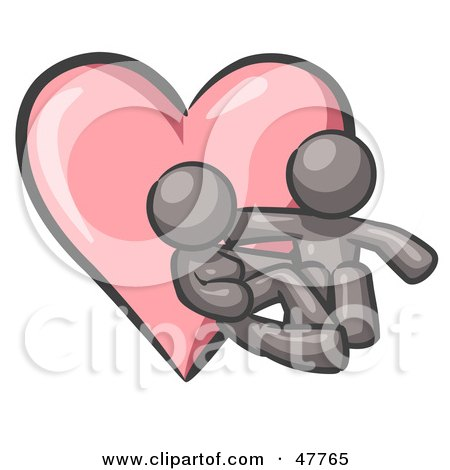 Royalty-Free (RF) Clipart Illustration of a Gray Design Mascot Couple Embracing In Front Of A Heart by Leo Blanchette