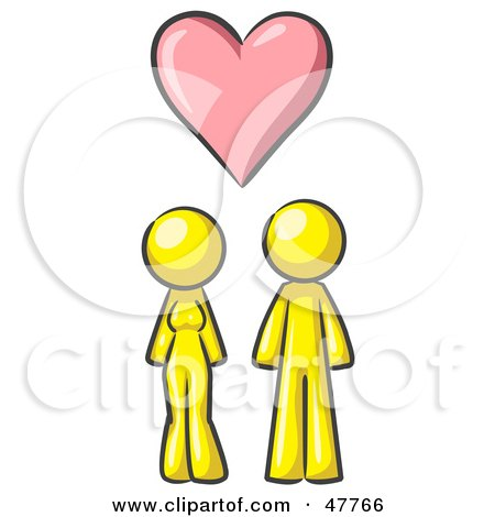 Royalty-Free (RF) Clipart Illustration of a Yellow Design Mascot Couple Under A Pink Heart by Leo Blanchette