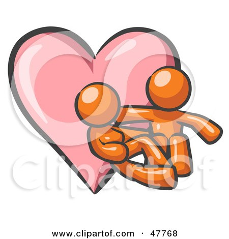 Royalty-Free (RF) Clipart Illustration of an Orange Design Mascot Couple Embracing In Front Of A Heart by Leo Blanchette