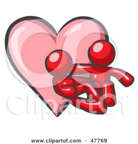 Red Design Mascot Couple Embracing In Front Of A Heart Posters, Art Prints