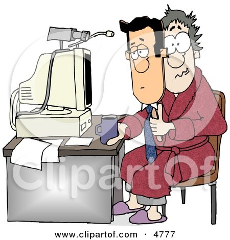 Businessman Working at His Home Office Today Clipart by djart