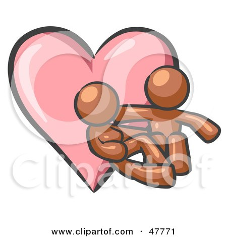 Royalty-Free (RF) Clipart Illustration of a Brown Design Mascot Couple Embracing In Front Of A Heart by Leo Blanchette