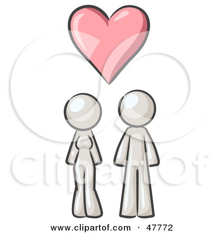 Royalty-Free (RF) Clipart Illustration of a White Design Mascot Couple Under A Pink Heart by Leo Blanchette