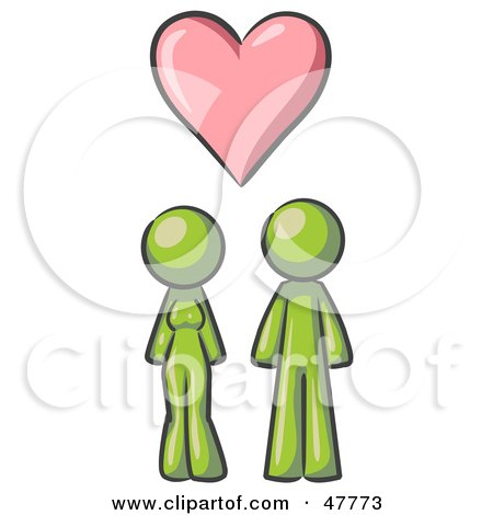 Royalty-Free (RF) Clipart Illustration of a Green Design Mascot Couple Under A Pink Heart by Leo Blanchette