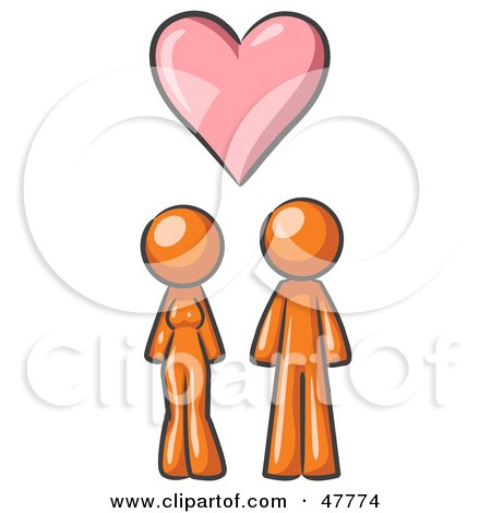 Royalty-Free (RF) Clipart Illustration of an Orange Design Mascot Couple Under A Pink Heart by Leo Blanchette