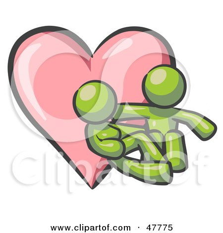 Royalty-Free (RF) Clipart Illustration of a Green Design Mascot Couple Embracing In Front Of A Heart by Leo Blanchette