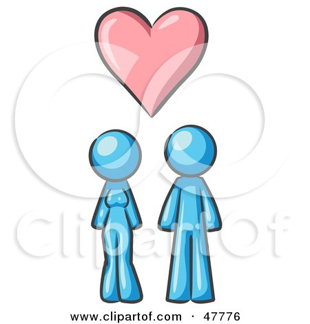 Royalty-Free (RF) Clipart Illustration of a Blue Design Mascot Couple Under A Pink Heart by Leo Blanchette
