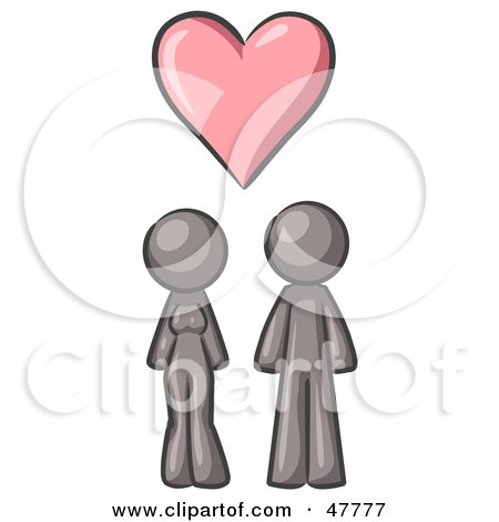 Royalty-Free (RF) Clipart Illustration of a Gray Design Mascot Couple Under A Pink Heart by Leo Blanchette