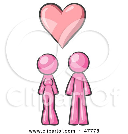 Royalty-Free (RF) Clipart Illustration of a Pink Design Mascot Couple Under A Pink Heart by Leo Blanchette