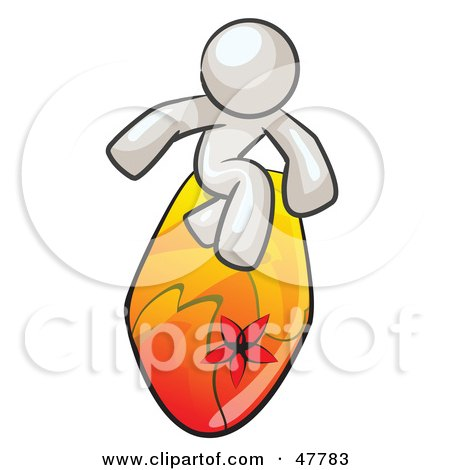 Royalty-Free (RF) Clipart Illustration of a White Design Mascot Man Surfing On A Board by Leo Blanchette