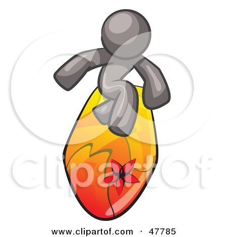 Royalty-Free (RF) Clipart Illustration of a Gray Design Mascot Man Surfing On A Board by Leo Blanchette