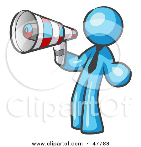 Royalty-Free (RF) Clipart Illustration of a Blue Design Mascot Man Announcing With A Megaphone by Leo Blanchette