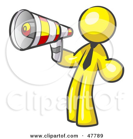 Royalty-Free (RF) Clipart Illustration of a Yellow Design Mascot Man Announcing With A Megaphone by Leo Blanchette
