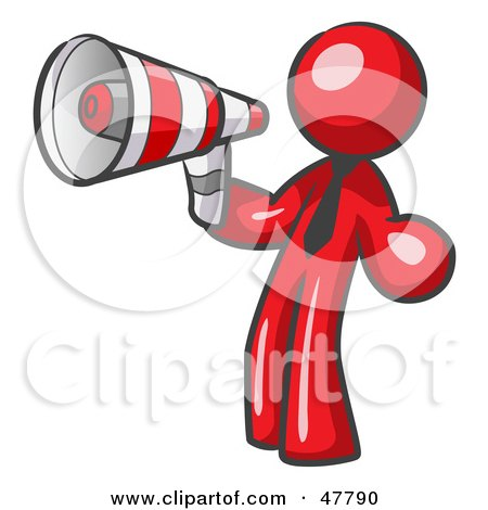 Red Design Mascot Man Announcing With A Megaphone Posters, Art Prints