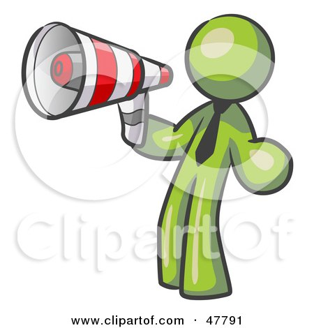 Royalty-Free (RF) Clipart Illustration of a Green Design Mascot Man Announcing With A Megaphone by Leo Blanchette
