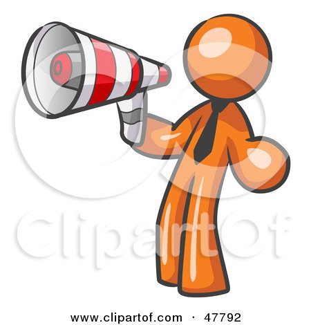 Royalty-Free (RF) Clipart Illustration of an Orange Design Mascot Man Announcing With A Megaphone by Leo Blanchette