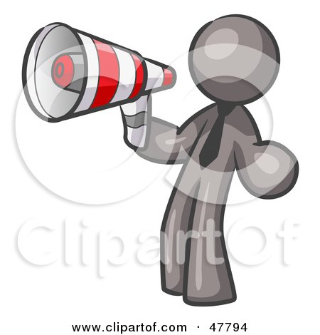 Royalty-Free (RF) Clipart Illustration of a Gray Design Mascot Man Announcing With A Megaphone by Leo Blanchette