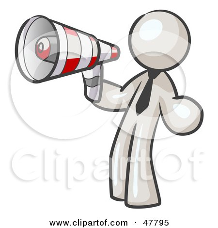 Royalty-Free (RF) Clipart Illustration of a White Design Mascot Man Announcing With A Megaphone by Leo Blanchette