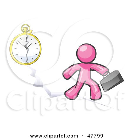 Royalty-Free (RF) Clipart Illustration of a Pink Design Mascot Man Running Late For Work Over A Crack With A Clock by Leo Blanchette