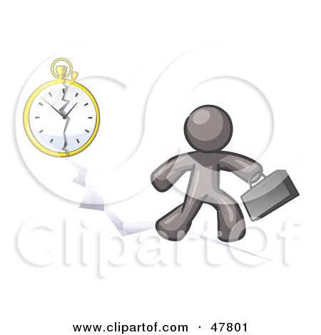 Royalty-Free (RF) Clipart Illustration of a Gray Design Mascot Man Running Late For Work Over A Crack With A Clock by Leo Blanchette