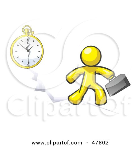 Royalty-Free (RF) Clipart Illustration of a Yellow Design Mascot Man Running Late For Work Over A Crack With A Clock by Leo Blanchette