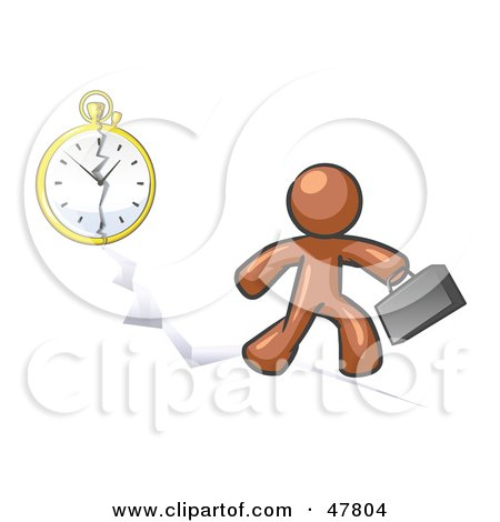Royalty-Free (RF) Clipart Illustration of a Brown Design Mascot Man Running Late For Work Over A Crack With A Clock by Leo Blanchette