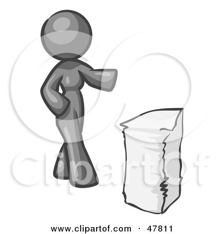 Royalty-Free (RF) Clipart Illustration of a Gray Design Mascot Woman With A Stack Of Paperwork by Leo Blanchette