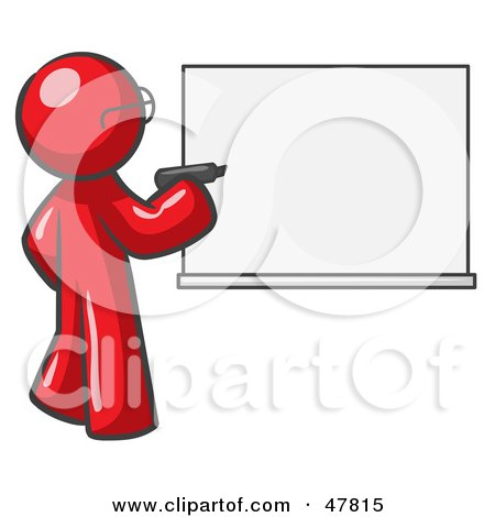 Red Design Mascot Man Writing On A White Board Posters, Art Prints
