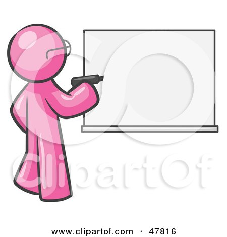 Royalty-Free (RF) Clipart Illustration of a Pink Design Mascot Man Writing On A White Board by Leo Blanchette