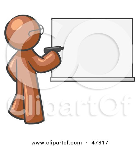 Royalty-Free (RF) Clipart Illustration of a Brown Design Mascot Man Writing On A White Board by Leo Blanchette