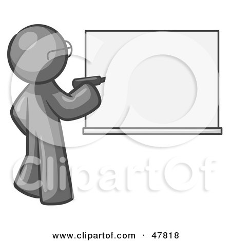 Royalty-Free (RF) Clipart Illustration of a Gray Design Mascot Man Writing On A White Board by Leo Blanchette