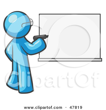 Royalty-Free (RF) Clipart Illustration of a Blue Design Mascot Man Writing On A White Board by Leo Blanchette