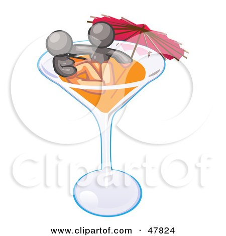 Royalty-Free (RF) Clipart Illustration of a Gray Design Mascot Couple Soaking In A Cocktail Glass With An Umbrella by Leo Blanchette