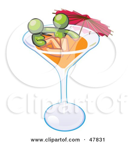 Royalty-Free (RF) Clipart Illustration of a Green Design Mascot Couple Soaking In A Cocktail Glass With An Umbrella by Leo Blanchette
