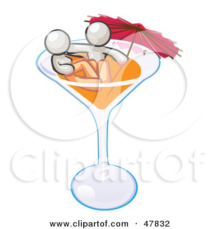 Royalty-Free (RF) Clipart Illustration of a White Design Mascot Couple Soaking In A Cocktail Glass With An Umbrella by Leo Blanchette