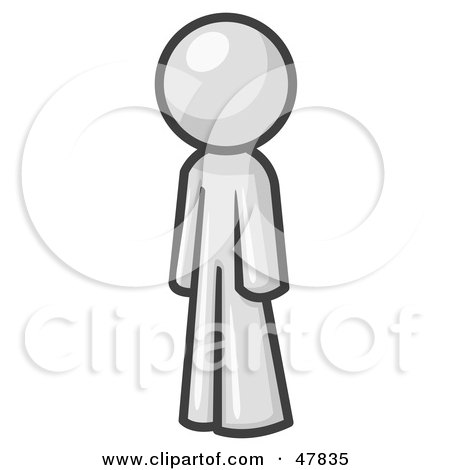 Royalty-Free (RF) Clipart Illustration of a White Design Mascot Man Standing Up Straight by Leo Blanchette