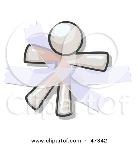 Royalty-Free (RF) Clipart Illustration of a White Design Mascot Man Restrained With Tape by Leo Blanchette