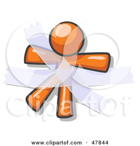 Royalty-Free (RF) Clipart Illustration of an Orange Design Mascot Man Restrained With Tape by Leo Blanchette