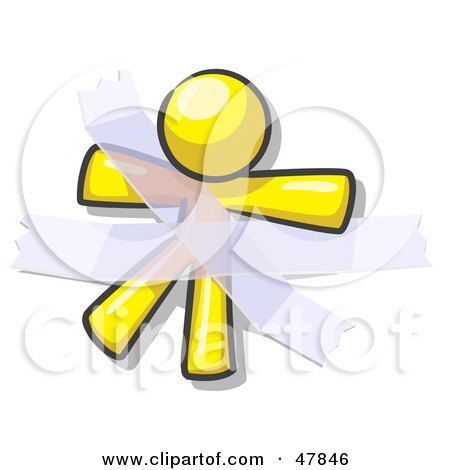 Royalty-Free (RF) Clipart Illustration of a Yellow Design Mascot Man Restrained With Tape by Leo Blanchette