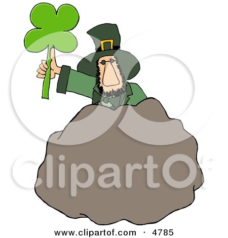 Leprechaun Standing Behind A Bolder With A Four Leaf Clover Leaf Clipart