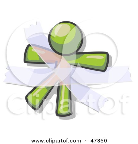 Royalty-Free (RF) Clipart Illustration of a Green Design Mascot Man Restrained With Tape by Leo Blanchette