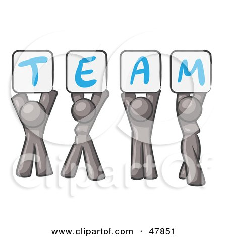 Royalty-Free (RF) Clipart Illustration of a Gray Design Mascot Group Holding Up Team Signs by Leo Blanchette