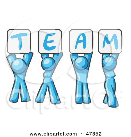 Royalty-Free (RF) Clipart Illustration of a Blue Design Mascot Group Holding Up Team Signs by Leo Blanchette