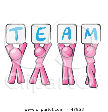 Royalty-Free (RF) Clipart Illustration of a Pink Design Mascot Group Holding Up Team Signs by Leo Blanchette