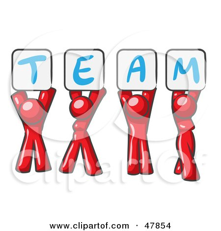 Royalty-Free (RF) Clipart Illustration of a Red Design Mascot Group Holding Up Team Signs by Leo Blanchette