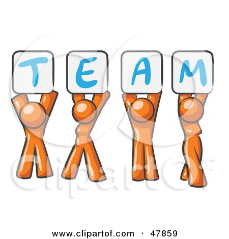 Royalty-Free (RF) Clipart Illustration of an Orange Design Mascot Group Holding Up Team Signs by Leo Blanchette